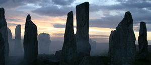 The Callanish Standing Stones that were seen on a previous outlander tour in fog at dusk