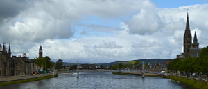 Inverness where you stay for 3 nights on your Outlander tour and the bridge over the River Ness