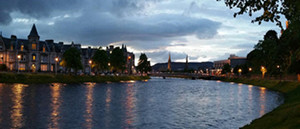 The River Ness in Inverness at dusk as can be seen during your Outlander tour