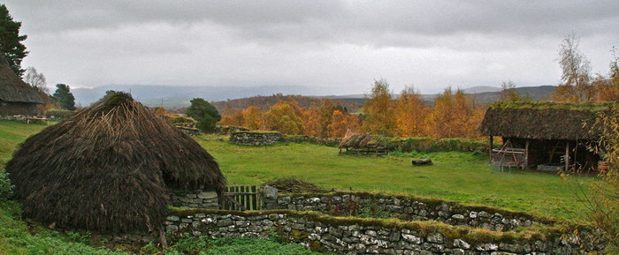 The village at the Highland Folk Museum where the Rent was collected