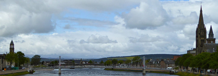 The River Ness in Inverness with church spires
