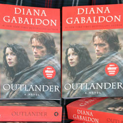 A Stack of Outlander Books by Diana Gabaldon