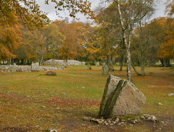 The standing stones at Clava Cairns as seen on an Outlander Tour