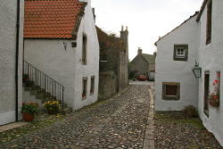 The cobblestone streets of Culross which was used for filming of Cranesmuir