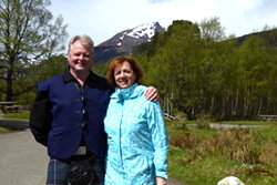 Kathie & Hugh Allison at Glen Affric on an Outlander tour